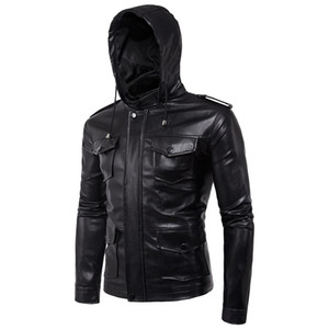 2019 Autumn and Winter European and American Fashion New Design Men's Motorcycle Hooded Men's Leather Jacket Coat Leather European Size on Sale