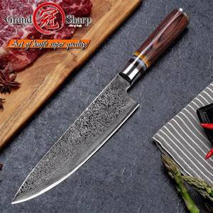GRANDSHARP 67 Layers Japanese Damascus Steel Damascus Chef Knife VG-10 Blade Damascus Kitchen Knives Pakka Handle PRO Chef Knife