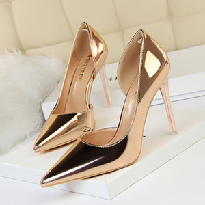 Wholesale New High Heels Stiletto Metal High Heels Shallow Mouth Pointed Side Hollow Sexy Single Shoes Wedding Shoes Pumps Women