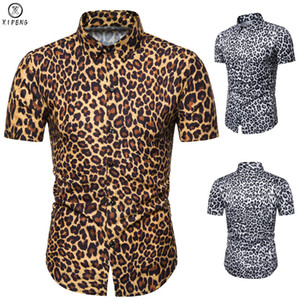 Wholesale Yellow Leopard Print Shirt Men Fashion Short Sleeve Nightclub Shirt Mens Slim Fit Casual Social Shirts Camisa Masculina XL