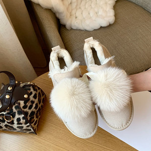 Wholesale Casual Platform Cute Snow Boots Warm Plush Slip Fur Fashion Lace Up Ankle Boots Brown Lovely Soft Winter shoes women U11