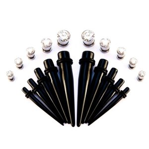 Wholesale 20pieces BLING Intermediate Ear Stretching kit UV Acrylic Plug Tapers Stainless Steel CZ Crystal Screw Fit Tunnels G G
