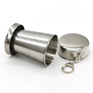 Wholesale 75ml Stainless Steel Portable Outdoor Travel Camping Foldable Collapsible Cup Telescopic Wine Cup Water Bottle ZZA1059
