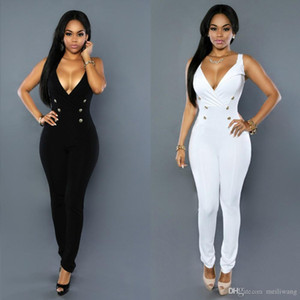 Wholesale BLACK white Autumn summer Button Jumpsuit Sexy Bodycon Sleeveless Body Deep V neck Elegant Bandage Rompers Womens Jumpsuits
