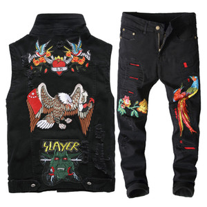 Wholesale 2019 New Men s Two Piece Sets Denim Vest Washed Black Casual Wild Eagle Flower Tops Holed Slim Fit Embroidered Phoenix Pants Jeans Suits