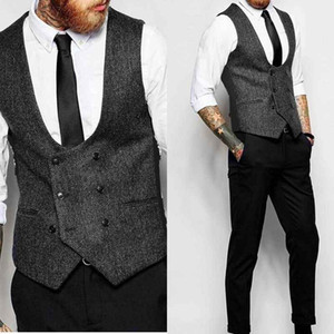 New Dark Grey Double Breasted Vest Suit Herringbone Mens Vests Striped Slim Fit Waistcoat British Vintage Blazer Sleeveless Jacket
