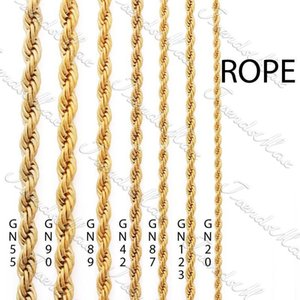 24K Gold Color Filled 3 4 5 6mm Gold Plated Necklace Chain Rope Classic Mens Womens Chain Gift Jewelry