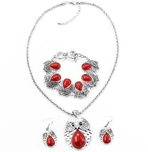 (silvery set)classic Bohemian style peach heart pine stone Jewelry Sets For Lady Earrings Necklace good quality . on Sale