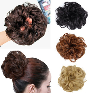 Wholesale Pony Tail Hair Extension Bun Hairpiece Scrunchie Elastic Wave Curly Synthetic Hairpieces Wrap for Hair Bun Chignon Pedazo de cabello Haartei