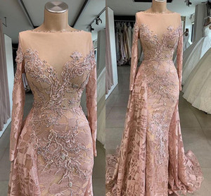 Wholesale Real Images Luxurious African Dubai Prom Dresses Sheer Neck Lace Beaded Prom Dresses Mermaid Vintage Formal Party Event Pageant Dresses