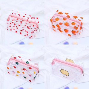 Wholesale peach pencil case resale online - Transparent Large Capacity Peach Pig pencil case for girls Cute Flower Cosmetic bag stationery pouch school office supplies