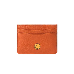 Wholesale Women Genuine Leather slim id card holder sticker Fashion Business Card Wallet Sheepskin Casual case Smile Face wallet