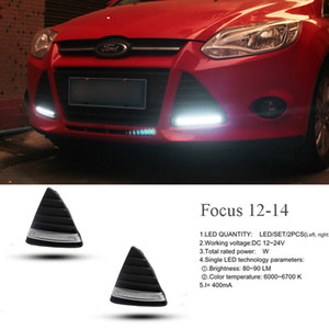 drl led lights ford оптовых-ECAHAYAKU для Ford Focus MK3 Drl Daytime Right Light LED Daylight Fight Fample Водонепроницаемый с реле стиля DIMMING