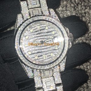 Wholesale Diamond Watch Best Quality Iced Out Watch ETA2836 Automatic Bling Bling Watch 40MM Men Waterproof 904 Stainless Steel Strap Side of Diamond
