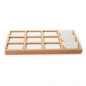 Wholesale Solid Wood Jewelry Display Tray Ring Earring Necklace Storage Box Jewelry Display Props
