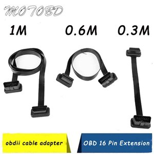 Wholesale 5 Type Optional Flat Thin As Noodle OBDII OBD OBD2 Pin ELM327 Male To Female Splitter Elbow Extension Connector Cable