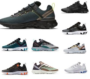 Wholesale 2020 Yellow react element mens running shoes men women Orange Peel Sail triple black Taped Seams trainers Outdoor sports sneakers