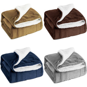 Wholesale Thick Double layer Flannel Blanket Winter Warm Soft Thick Blanket Sofa Bed Travel Double Layer Fleece Blanket