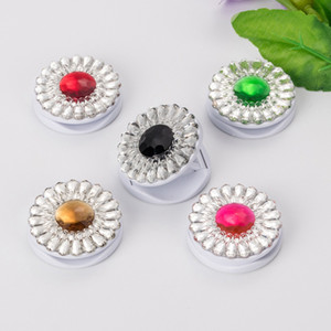 Wholesale Universal Flower Diamond Stand Crystal Finger Ring Holder Phone Stand M Glue Expandable Grip For Mobile Phones
