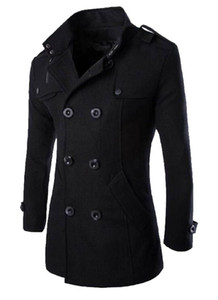 Mens British Double Breasted Warm Coats Winter Slim Wool Blends Outerwear Coats Male Fashion Clothing Coats Tops