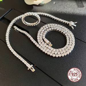 Wholesale Solid Sterling Silver Tennis Necklace Bracelet Ring Sets Pave mm Zirconia Crystal Engagement Wedding Promise Jewelry sets