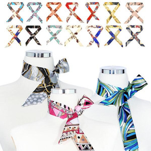 Women Fashion Ribbon Silk Scarf Bag Handle Wrappy Mixed Design Multifunction Girls Neckerchief Hair Band Small Neck Scarves Free Shipping