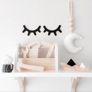 1 Pair Nordic Style Cute Wooden 3D Eyelash Wall Sticker Decor Children Kids Baby Room Background Wall Sticker Home Decoration on Sale