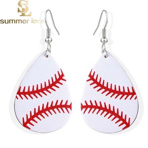 Fashion Design Waterdrop Leather Earring Baseball Basketball Football Volleyball Teardrop Printing Dangle Earring for Women Jewelry