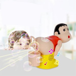 Wholesale Kids Electric Soap Bubble Blower Fart Blowing Bubbles Machine with Light Music Funny Joke Toy Fully-Automatic Water Blowing Toys