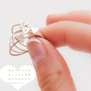 Wholesale Fashion A Z Alphabet Peach Hearts Rings Golden Silver Letter Heart Finger Band Ring Women Girls Jewelry Wedding Birthday Gifts Accessory