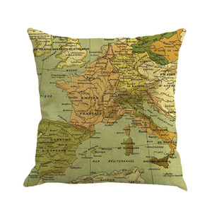 Wholesale 30pcs DHL free Classical world map linen pillows car sofa cushion for leaning on hold pillow case size cm not including pillow core