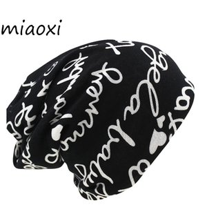 Wholesale Women s Warm Autumn Knitting Cotton Letter Style Autumn Hat Ladies Beanie Scarf Use Cap Girls Gorros Women Skullies