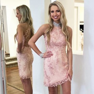 Wholesale tight homecoming dresses for sale - Group buy Classy Halter Blue Pink Bodycon Homecoming Dresses Short Lace Appliques Sexy Prom Dresses Crystals Beading Tight Homecoming Dresses