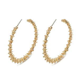 Wholesale Big Hoop Earrings for Women Vintage Gold Color Round Fashion Statement Earrings Accessories Jewellery