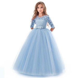 Wholesale 2019 Flower Girl Dresses For Weddings Party 1 2 Sleeve Jewel With Applique Lace Sash Bow First Communion Kids Formal Gowns