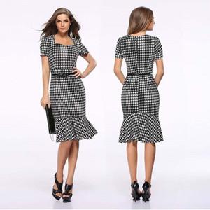 Short Sleeve Fishtail Dress Slim Square Neck Swallow Gird Bodycon Dress Business Midi Dresses Skirts for Women 220232