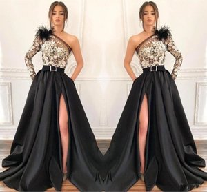 Wholesale Saudi Arabic Black Satin Evening Dresses A Line One Shoulder Flora Appliques High Thigh Split Formal Pageant Red Carpet Prom Wear BC1688