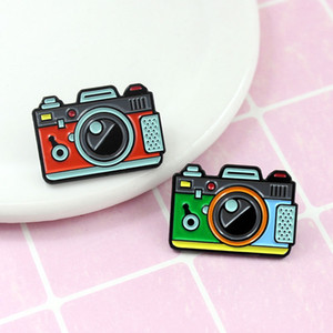 Wholesale 2 Colors Camera Brooch Rainbow Digital Enamel Pins Brooch Photography and Kids Badge Gifts