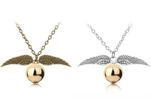 Wholesale Fashion Harry P Necklace Men Women Vintage Style Angel Wing Charm Golden Snitch Pendant Necklace for Potter Movie Fans Accessories