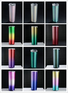 Wholesale Rainbow Print oz Skinny Cup Mix color Vacuum Insulated Thermos Bottle Stainless Tumbler Fashion Water Drinking Holder A05