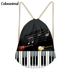 Coloranimal Music Note With Piano Keyboard Print Women Men Drawstring Backpack Beach Travel Mini String Girl Rucksack Cinch Sack