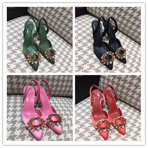Wholesale women high heels dress shoes party sandals girls sexy pointed toe shoes buckle platform pumps wedding shoes black green red pink color