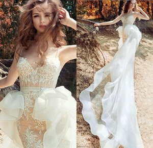 2019 Sexy Spaghetti Short Wedding Dress Organza Overskirt Illusion Bodice Exposed Boning Lace Mini Fitted Bridal Gowns with Detachable Train on Sale