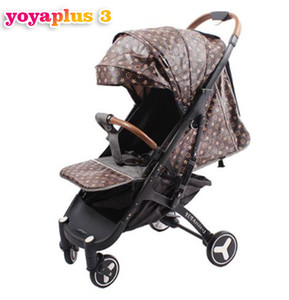 Wholesale Yoyaplus3 baby stroller new leather pu Foldable Free installation light Can take the plane Leather