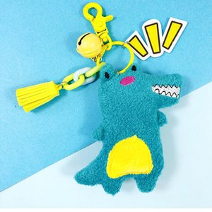 Modern design cartoon creative plush cute little crocodile key chain bag pendant phone key ring couple accessories