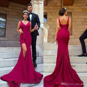 Mermaid Prom Dresses Evening Gown Formal Dress Party Wear Club Gowns Special Occasion Dress V Neck High Split Backless on Sale