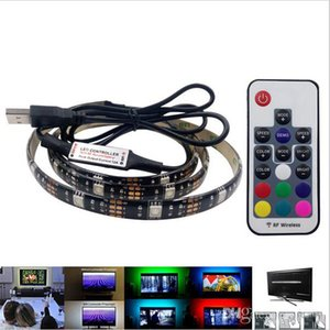 Wholesale blue background light resale online - 5050 DC V RGB LED Strip Waterproof LED M USB LED Light Strips Flexible Neon Tape M M add Remote For TV Background