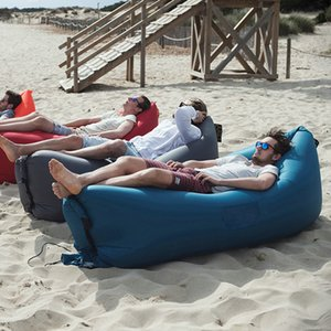 Wholesale Drop shipping Top Fast Inflatable Lazy bag Sleeping Air Bag Camping Portable Air Sofa Beach Bed Air Hammock Nylon Banana Sofa