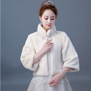 Wholesale New Arrival High Neck Bridal Wraps Beading Three Quarter Sleeves Faux Fur Shawl Jacket For Wedding Party Women Outwear Bolero Jackets