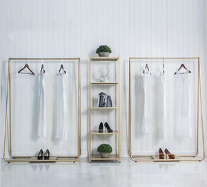 Floor type hanger Nordic Simplicity Style Shopping racks in clothing stores Golden side hanging garment rack Floor fashion hanger for lady